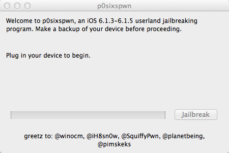 P0sixspwn utility for Jailbreak of iOS 6 by winocom ih8sn0w planetbeing SquiffyPwn and pimseeks