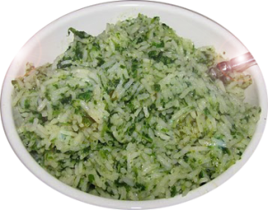 tempting and healthy spinach or palak rice recipe, easy to cook and simple